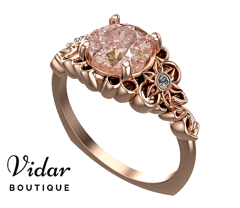 Flower Engagement Ring Morganite