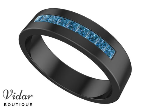 Black Gold Blue Diamonds Wedding Ring  For Men