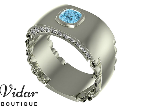 Unique Aquamarine Wedding Band For Men