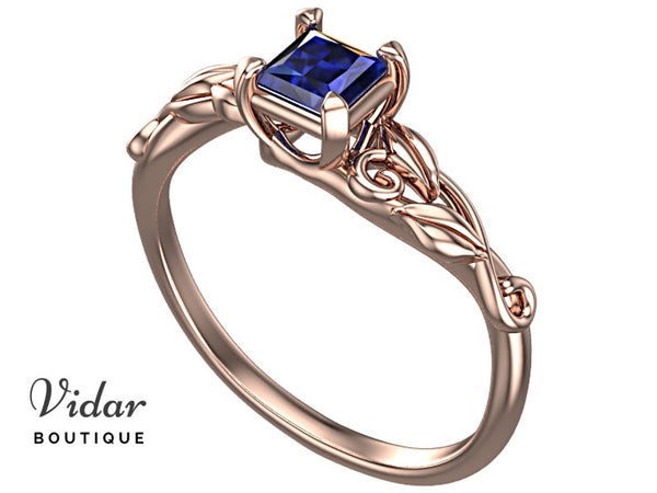 Unique Princess Cut Sapphire Engagement Ring