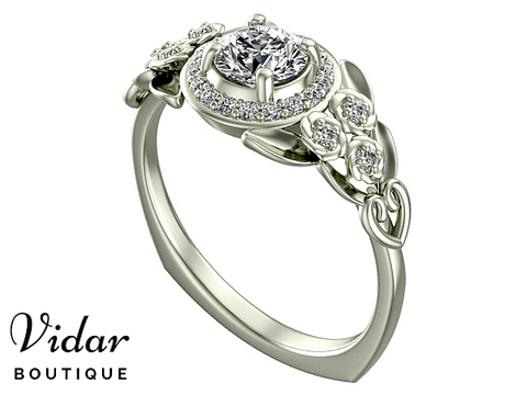 Flower White Gold Halo Moissanite Engagement Ring