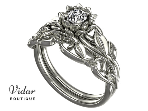 Flower Diamond Bridal Ring Set