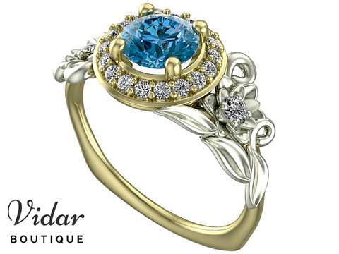 Unique Flower Blue Diamond Halo Engagement Ring