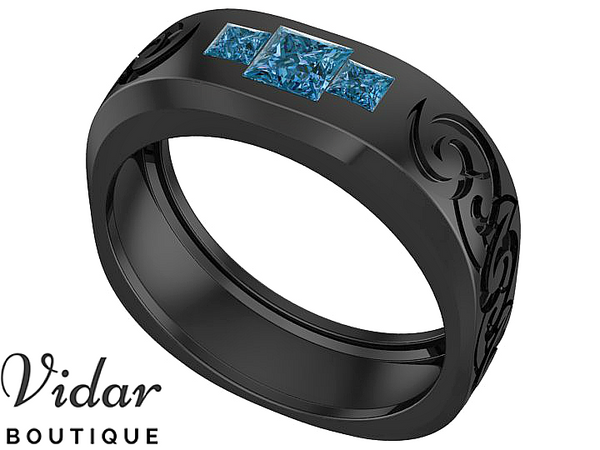 Unique Black Gold Blue Diamond Wedding Band