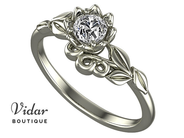 Unique Leaves Flower Engagement Ring