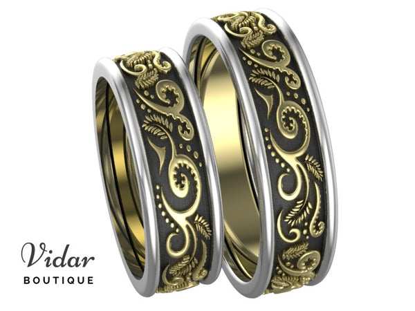 Unique Tree Tone Matching Wedding Bands