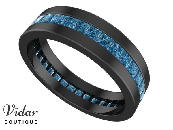 Unique Black Gold Blue Diamond Mens Wedding Ring