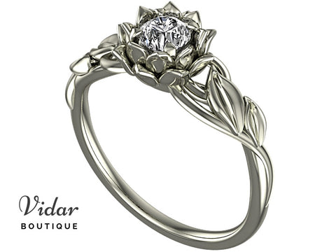 Lotus Flower Engagement Ring With Leaves