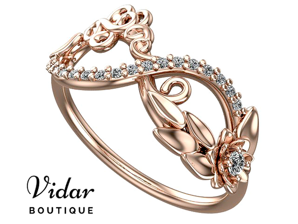 Unique Flower Infinity Diamond Rose Gold Wedding Band For Women
