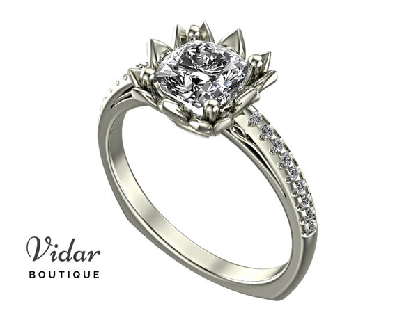 Unique Diamond Floral Engagement Ring
