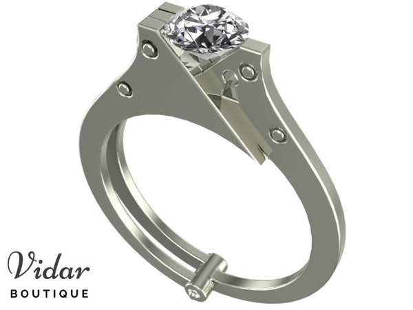 Unique Moissanite Handcuff Engagement Ring