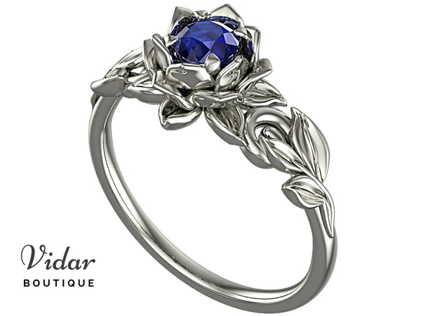 Flower Blue Sapphire Engagement Ring