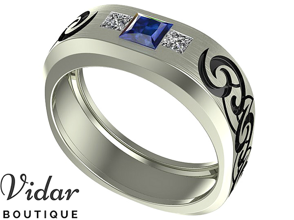 Unique Tribal Sapphire Wedding Ring For Men