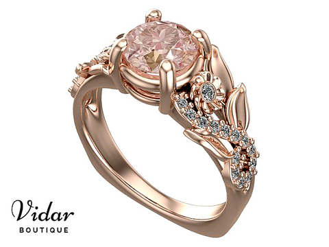 Unique Morganite Engagement Ring Rose Gold