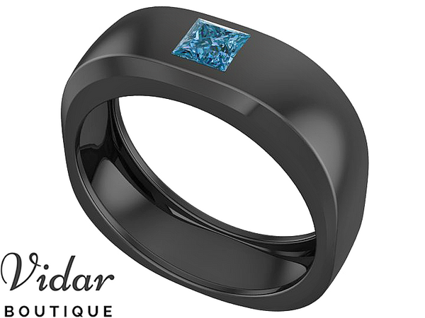 Blue Diamond Unique Wedding Band For Men
