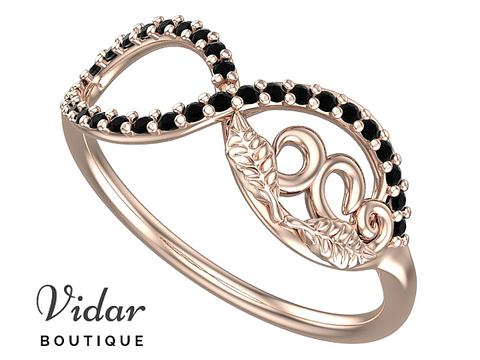 Flower Infinity Black Diamond Wedding Ring For Women