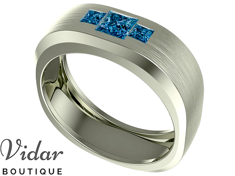 Unique Mens Blue Diamond Wedding Band