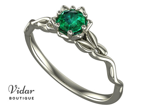 Unique Flower Emerald Engagement Ring