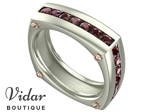 Ruby White-Rose Gold Mens Wedding Band