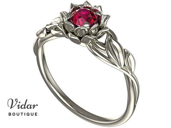 Lotus Flower Ruby Engagement Ring