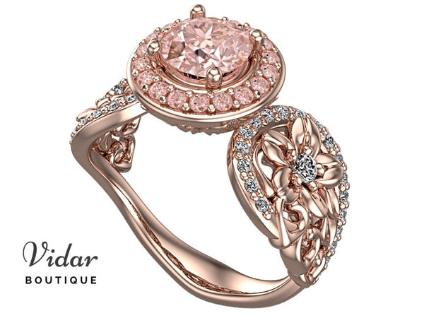 Flower Halo Morganite Engagement Ring