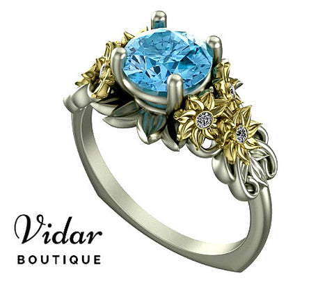 Unique Aquamarine Flower Engagement Ring