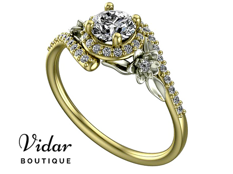 Floral Two Tone Gold Diamond Halo Engagement Ring