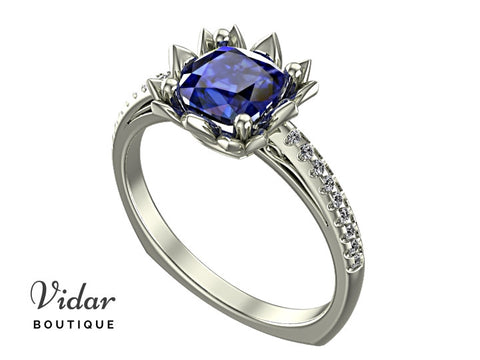 Blue Sapphire Flower Engagement Ring