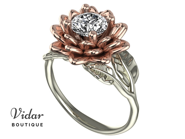 Flower Moissanite Engagement Ring Two Tone Gold
