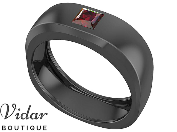 Unique Black Gold Mens Ruby Wedding Band