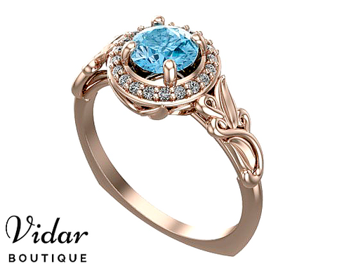 Flower Halo Aquamarine Engagement Ring