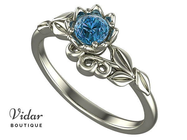 Blue Diamond Flower Engagement Ring With Leaves