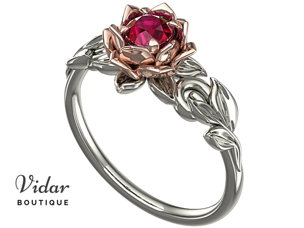 Unique Lotus Flower Ruby Engagement Ring