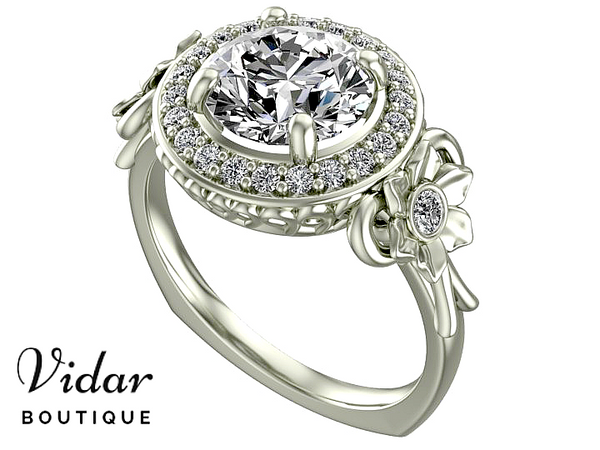 Flower White Gold Diamond Halo Engagement Ring