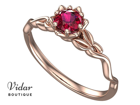 Unique Flower Ruby Engagement Ring