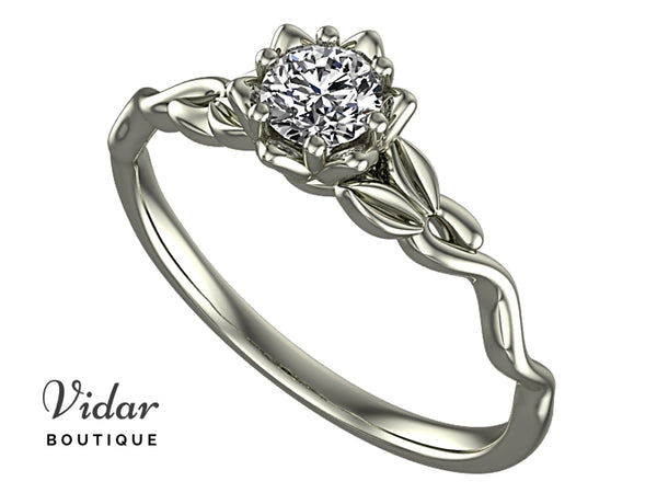 Unique Flower White Sapphire Engagement Ring