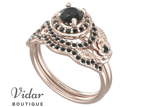 Unique Black Diamond Rose Gold Wedding Ring Set