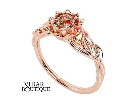Unique Lotus Flower Engagement Ring With Morganite