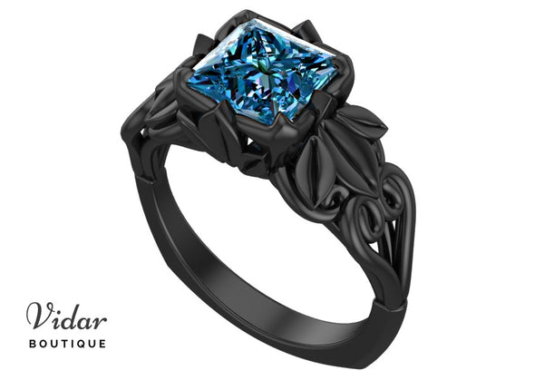 Unique Black Gold Blue Topaz Engagement Ring