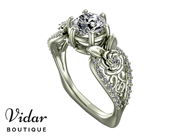 Unique Blooming White Gold Engagement Ring