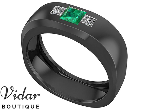 Unique Black Gold Emerald Wedding Band For Men