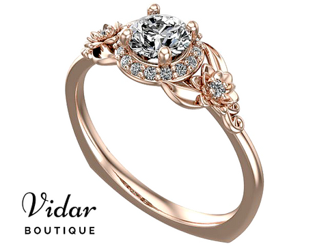 Unique Flower Rose Gold Halo Moissanite Engagement Ring