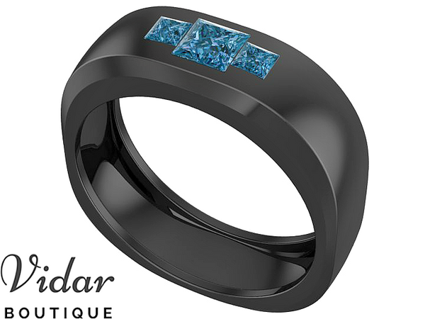 Unique Black Gold Blue Diamond Mens Wedding Band