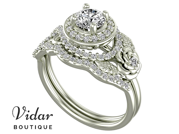 Exclusive Flower Moissanite Wedding Ring Set