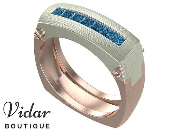 Blue Diamonds White-Rose Gold Mens Wedding Band