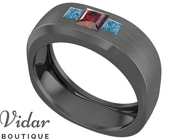 Unique Black Gold Ruby Wedding Band For Men