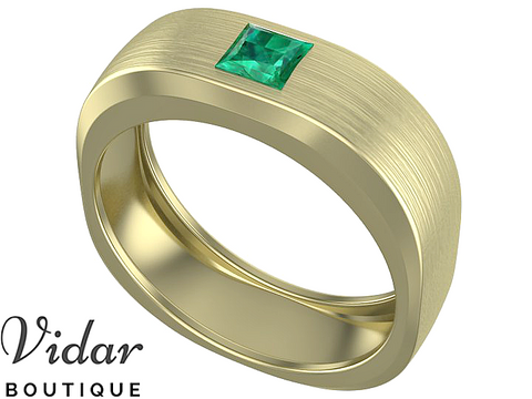 Emerald Princess Cut Mens Wedding Band