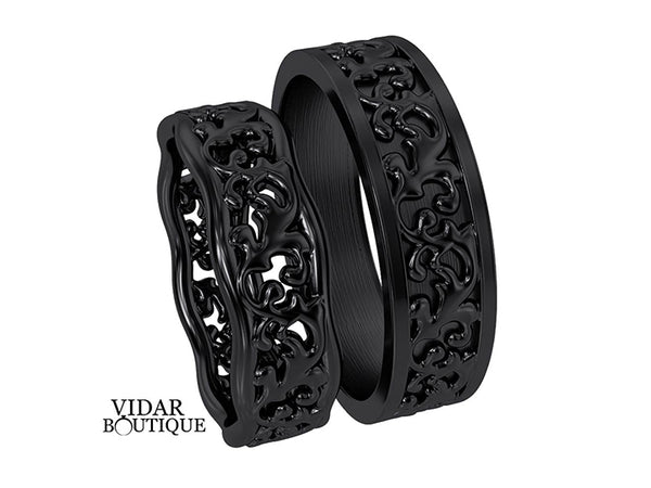 Black Gold Matching Wedding Bands His And Hers