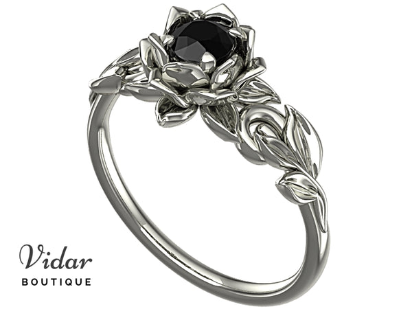 Lotus Flower Black Diamond Engagement Ring With Leaves