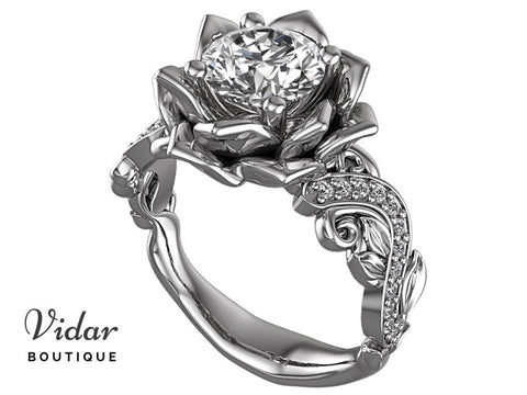 Unique Diamond Lotus Flower Engagement Ring